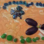"""""""Natura viva"""" acrilico su tela con applicazioni di perline M.F. 2016"""