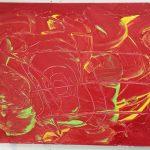 """""""Pennellate vaganti"""" acrilico su tela  con incisioni M.F. 2016"""